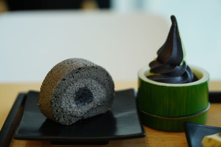 Sesame roll cake and charcoal matcha ice cream Indoors  Food And Drink No People Food Close-up Matcha Tea Day Freshness Ready-to-eat Charcoal Dessert Japanese Dessert Cute Decoration Roll Cake Ice Cream Japanese Style Sesame Cream Yummy Yummy And Healthy