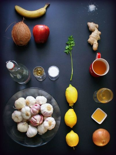 Showcase April Things I Like Healing Natural Medicine Food Porn Foodphotography Bananas Apples Ginger Water Onion Garlic Vegetables & Fruits Getting Well Getting Creative... Black Background Food Porn Awards Foodgasm Foodie Foodpics Foodlover Healthylife Holistichealth My Favourite Breakfast Moment Visual Feast