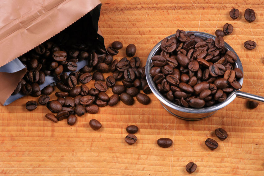 Brown Caffeine Caffè Coffee Coffee Beans Food Food And Drink Freshness High Angle View Roasted Coffee Bean Table