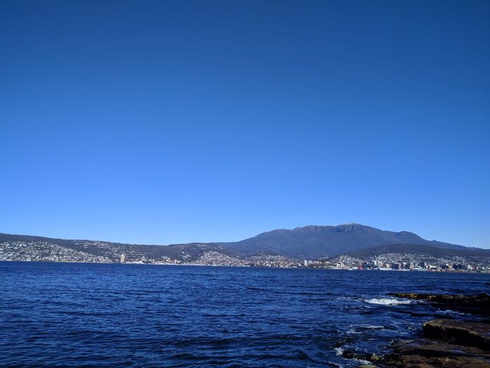 Mobilephotography Sky And Clouds Travel Destinations Nature NoEditNoFilter Tasmania Hobart Blue Sky Blue Wave Water Clear Sky Mountain Sea Cityscape Blue Beach View Into Land Sky