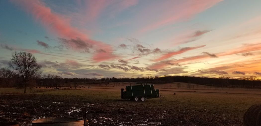 sunset on the farm Wagon  Country Life Farm Life Missouri Missouri Native Wintersunset Outdoors Openfield Sky Pinkclouds Colorful Tree Rural Scene Combine Harvester Agricultural Machinery