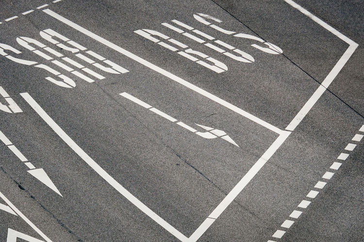 High Angle View Of Road Marking