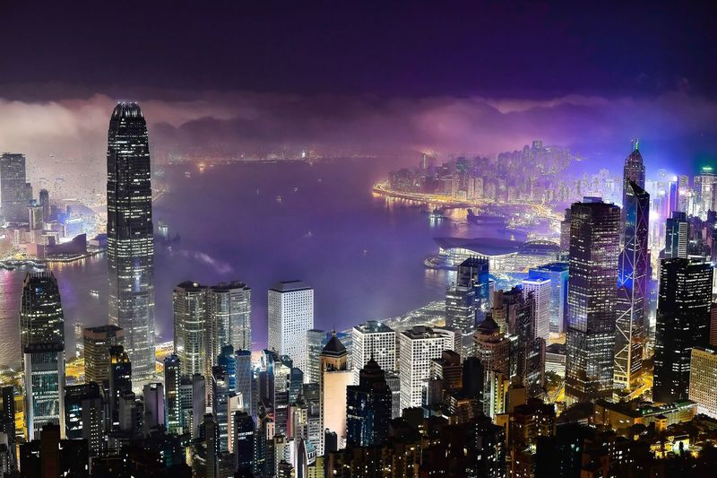 Midnight with the mist City Architecture Building Exterior Cityscape Skyscraper Illuminated Sky Built Structure Modern Travel Destinations Tower Cloud - Sky Dusk Night Urban Skyline Financial District  Outdoors City Life No People HongKong Hong Kong Mist Misty Night Clouds Midnight The Architect - 2017 EyeEm Awards My Best Photo
