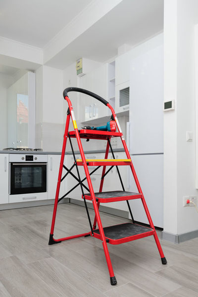 Appliances Ladder Renovation Unfinished Work... Black Clean Design Drill Furniture Home Interior Indoors  Instrument Kitchen Kitchen Interior No People Red Unfinished White Color