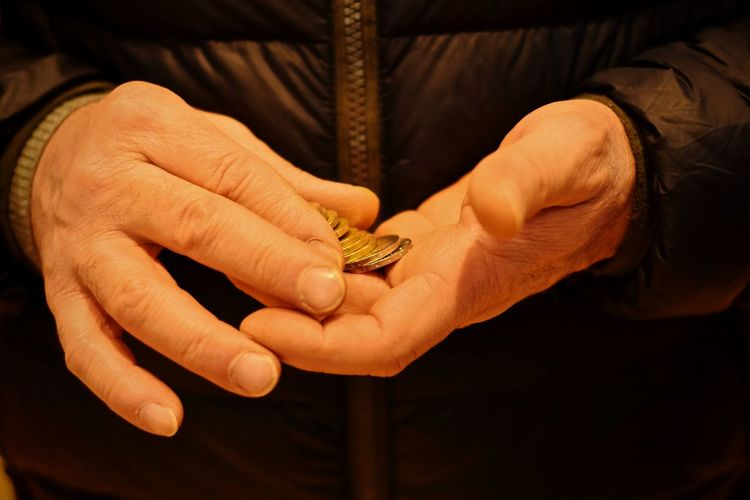 Close-up of human hands holding coins