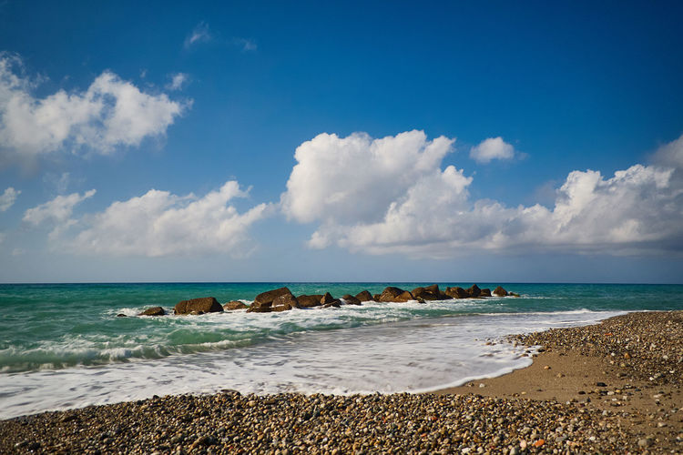Beach of Rodia (Messina) Mediterranean  Sicily Beach Beauty In Nature Blue Cloud - Sky Day Horizon Over Water Italy Messina Nature No People Outdoors Rodia Sand Scenics Sea Sky Tranquility Water Wave