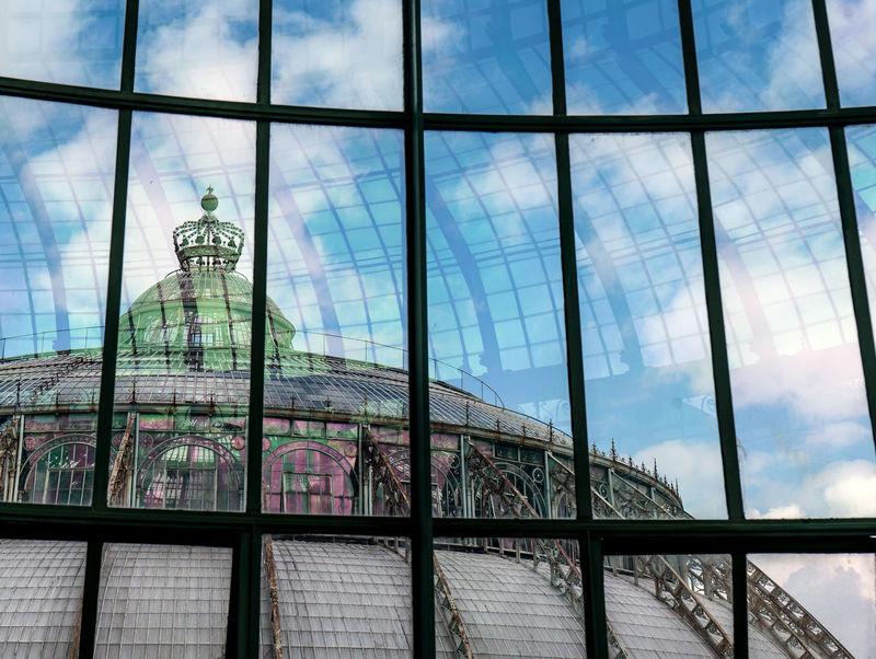 Serres De Laeken (Brussels). Architecture Building Building Exterior Built Structure City Cloud - Sky Day Glass Glass - Material Low Angle View Modern Nature No People Office Office Building Exterior Outdoors Sky Skyscraper Transparent Travel Destinations Window