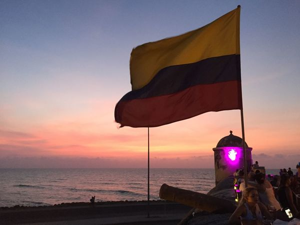 Cartagena Cloud - Sky Colombia Colombian Flag Flag Flags In The Wind  Group Of People Horizon Over Water Large Group Of People Real People Scenics Sea Sky Sunset Travel Travel Destinations Water