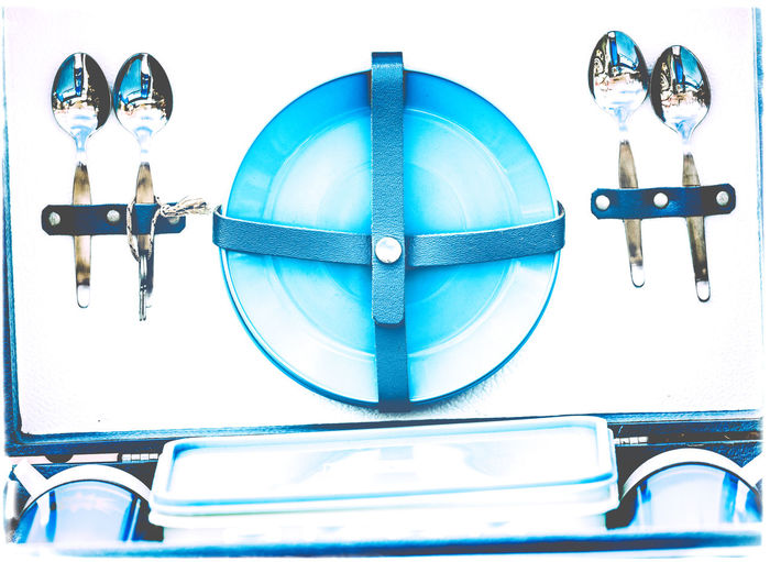 1960's Original Vintage Picnic Set 1960s Container Picnic Picnic Set Reflection Spoon Bicester Blue Close Up Close-up Cup Cups Hamper No People Original Outdoors Plate Spoons Strap Straps Vintage