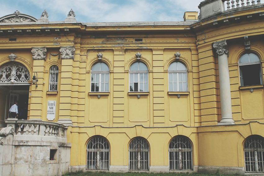 💛 Bathhouse Hungary Trip Yellow Monuments Historic City Politics And Government King - Royal Person Yellow Façade Window Sky Architecture Building Exterior Built Structure