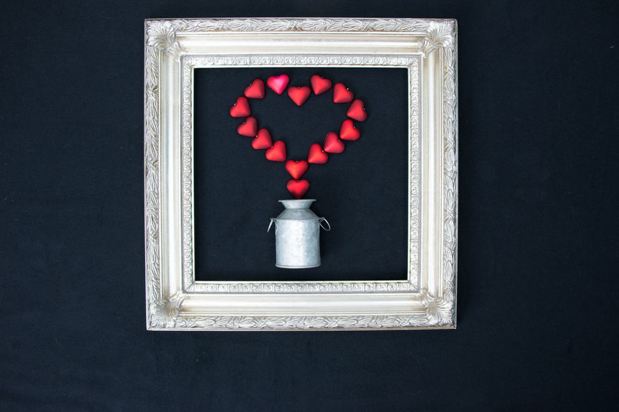 pitcher of hearts Artistic Love Valentine Valentine's Day  Black Background Fragility Heart Heart Shape No People Red Stylized