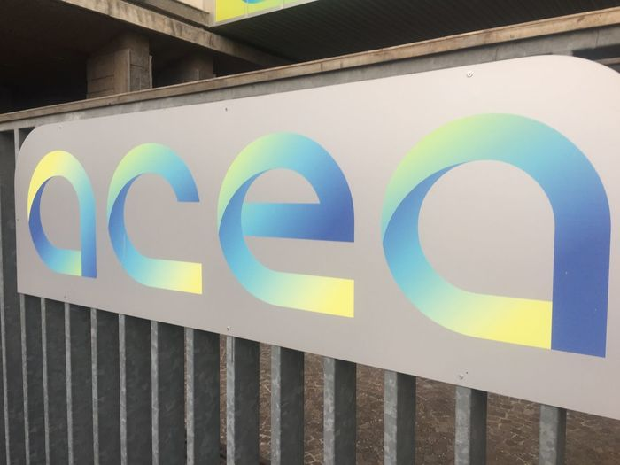 Rome, Italy - January 8, 2018: Acea company logo. Acea Azienda Comunale Energia e Ambiente SpA is an Italian energy and water supply company Company Power Rome Water Supply Architecture Building Exterior Built Structure Close-up Energy Energy Supply Italian Italy No People Outdoors