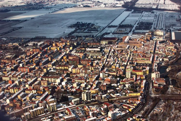 Snowy Turin Drone  Not Italy Turin Snow Winter Sun Urban Geometry Urban City Cityscape Aerial View High Angle View Road Settlement Residential  Building Exterior