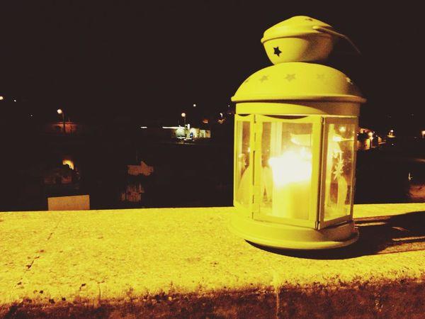 Paese vecchio Lanterna Eating Pizza Romantic Light Summer Nights Sky Dark