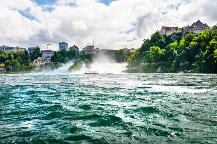Waterfall on the river rhine in neuhausen am rheinfall, schaffhausen in switzerland.