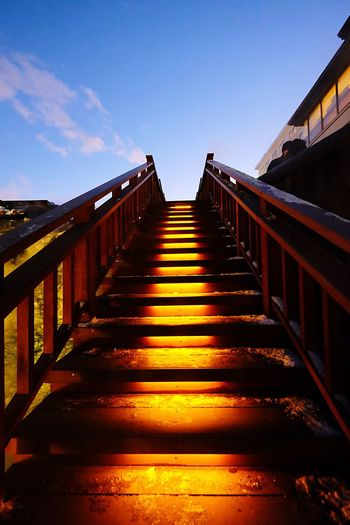 Railing Sunlight Steps The Way Forward Steps And Staircases Staircase No People Sky Outdoors Day Nature Wood Paneling