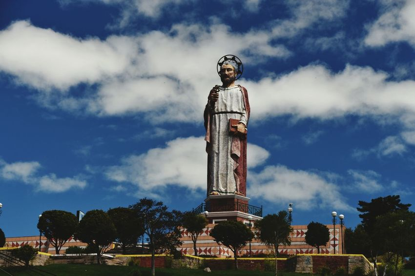EyeEm Selects Cloud - Sky Statue Sculpture Sky Day Architecture Outdoors Travel Destinations No People Religious Figure Alausi Ecuador Blue Sky And Clouds