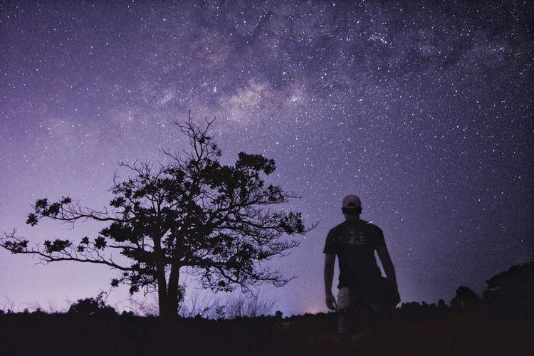 Silhouette man standing by tree against sky at night