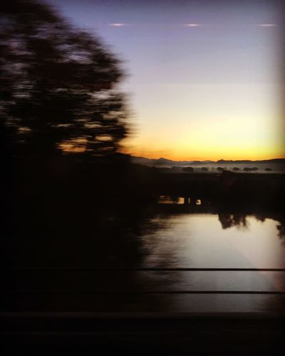 Blurred Motion Cloud - Sky Long Exposure Mode Of Transportation Motion No People Reflection Sky Sunset Transportation Water