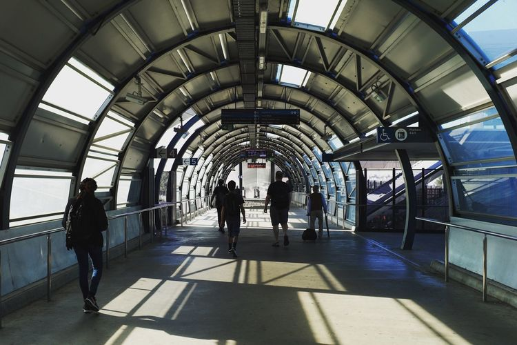 Footscray Station, Melbourne. Built Structure Indoors  Architecture Real People Walking Lifestyles Men Shadow Modern Day Group Of People