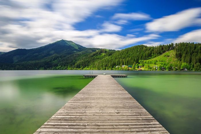Pier Erlaufsee Sky Lake Pier Water Mountain Tranquility Tranquil Scene Tree No People Nature Cloud - Sky Beauty In Nature Wood Paneling Mountain Range Day Outdoors Wood - Material The Way Forward