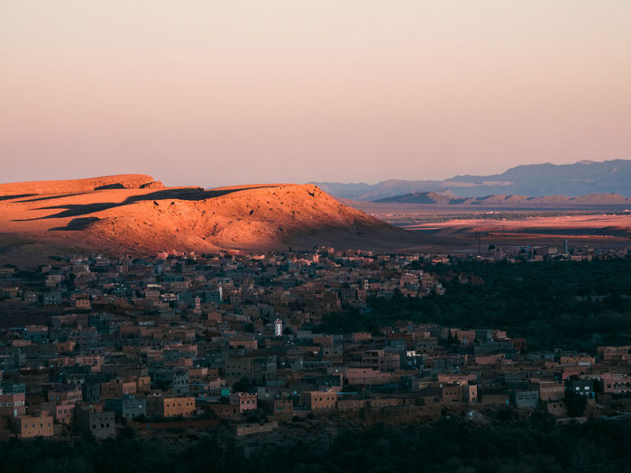 Sunset at an arabic village in the desert