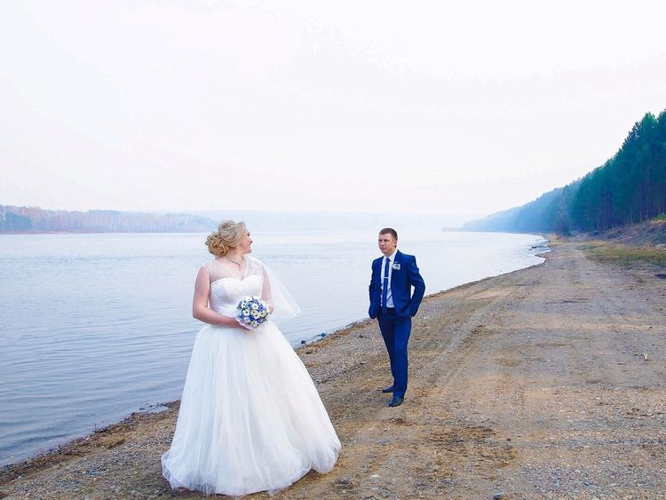 Wedding Bride Wedding Dress Togetherness Love Bridegroom Women Beach Two People Walking Sea Full Length Blond Hair Young Women Young Adult Nature Adult Men Real People Outdoors