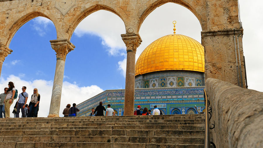 Ancient Civilization Arch Architectural Column Architecture Built Structure Day Dome Dome Of The Rock Dome Of The Rock Jerusalem History Large Group Of People Low Angle View Men Outdoors People Real People Religion Sky Tourism Travel Travel Destinations Vacations Women An Eye For Travel The Architect - 2018 EyeEm Awards