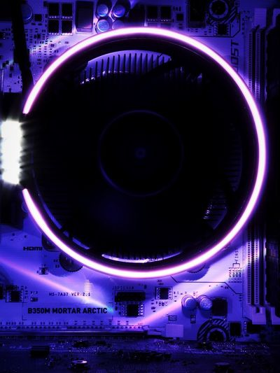 Components Circuit Board Mother Board Futuristic Advanced Printed Circuit Board Cable Diodes Transistor PC Electronics  Technical Glowing Light And Shadow Fan Night Illuminated No People Neon Indoors  AI Now
