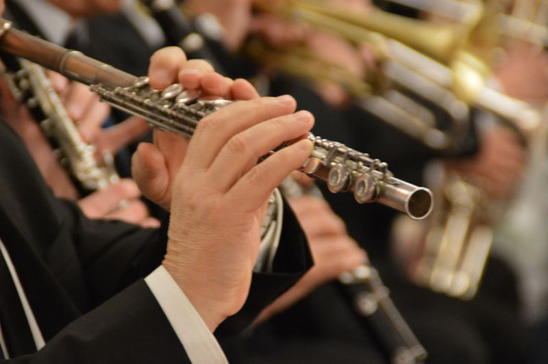 Close-up of hands playing flute
