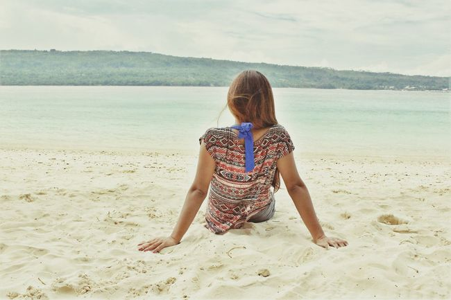 Beachview Beach Sea Rear View Back Sand Beauty Human Back Outdoors Vacations People One Person Nature Adult Horizon Over Water Only Women Day Cloud - Sky Water Sky Beauty In Nature Philippinesummer Philippines Summerdress Vacations Relaxation