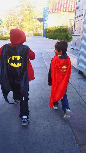 My boys with their superhero capes.♡♡♡Youth Of Today Superheroes Boys Will Be Boys Hanging Out Enjoying Life Southern California Six Flags Magic Mountain My Boys Taking Photos Superman Batman