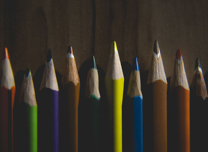 Colourful In A Row Art And Craft Art And Craft Equipment Bunch Of Pencil Choice Close-up Collection Colored Pencil Craft Creativity Group Of Objects Indoors  Multi Colored No People Pencil Side By Side Still Life Variation Wood - Material Writing Instrument