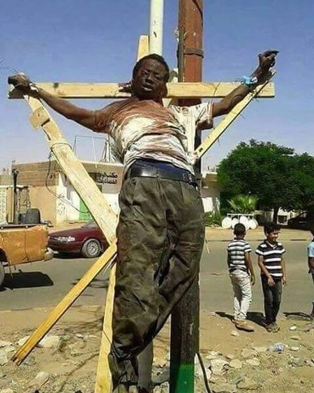 Today He was crucified in libya for being a christian they killed him in front of kids I am praying that this world gets better my heart goes out to his family this Christian man didn't deserve to be killed like this Please don't scroll without showing some respect and typing R.I.P