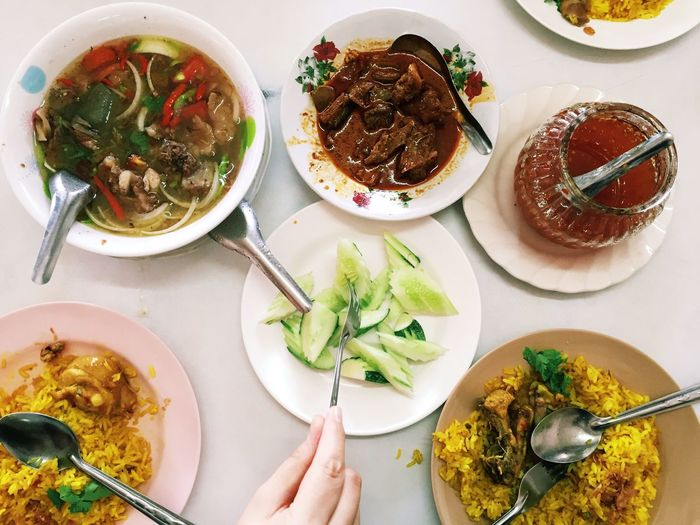 Food Thai Food Islamic Food Plate Table Food High Angle View Food And Drink Ready-to-eat Freshness