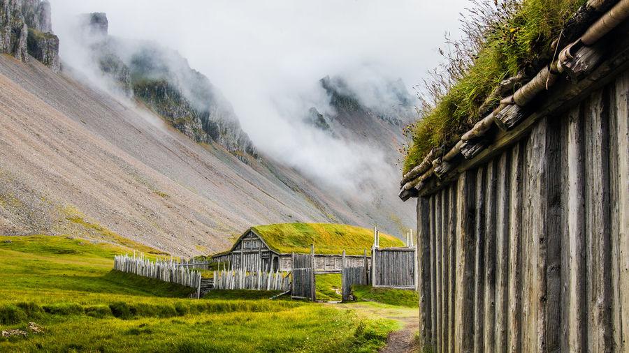 Icelandic, norse viking village on a foggy dark day