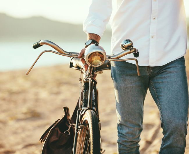 Bike Bicycle Cycling Jeans One Person Old-fashioned Vacations Sky Beach Water Day
