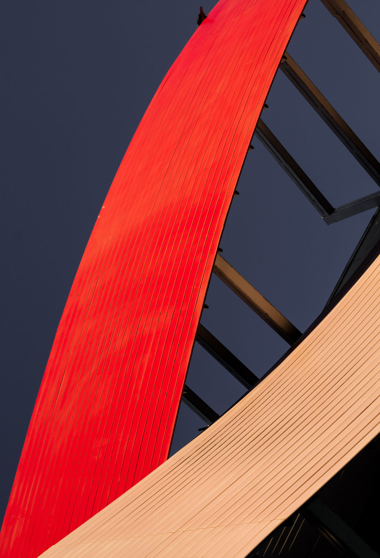 red, low angle view, architecture, built structure, no people
