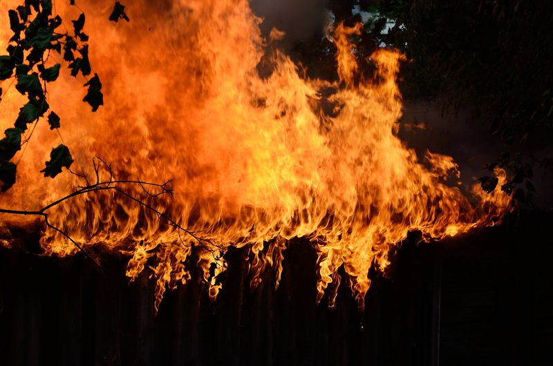 Low angle view of bonfire on silhouette trees at night