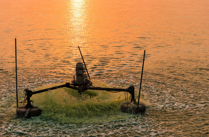 Beauty In Nature Day Fishing Fishing Pole Machine Nature Nautical Vessel No People Outdoors Oxygen Scenics Sea Sky Sunset Tranquil Scene Tranquility Water Water Pollution Water Treatment Water Treatment Plant