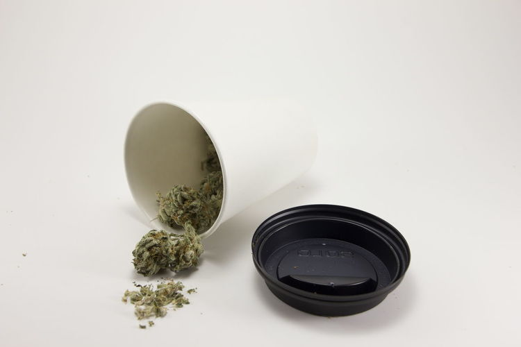 420 Cannabis Coffee Container Herb Weed Life Alternative Medicine Cannabis Plant Coffee Cup Discreet Healthcare And Medicine Herbal Medicine Hidden Indoors  Marijuana Marijuana - Herbal Cannabis Medicine No People Sativa Smoke Weed Still Life Studio Shot Vice Weed White Background