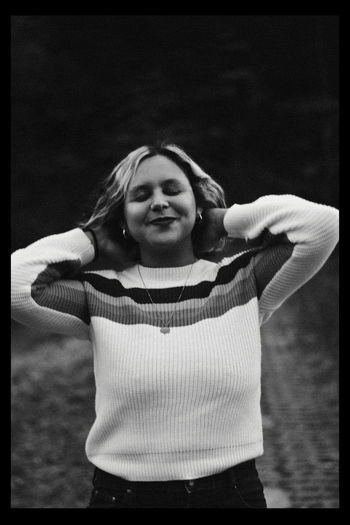 Fall, 2018 Front View One Person Waist Up Standing Clothing Three Quarter Length Auto Post Production Filter Sweater Casual Clothing Women Transfer Print Portrait Looking At Camera Adult Leisure Activity Females Focus On Foreground Hairstyle Warm Clothing Arms Raised Happiness Happy Smiling Jumper Black And White