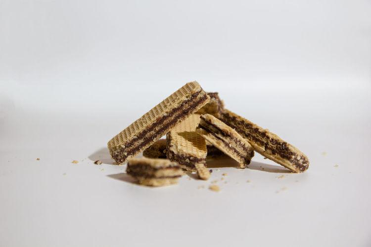 Snack Wafer Bread Broken Brown Food Selective Focus Studio Shot Wafer Waferchocolate White Background ขนม