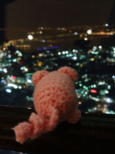 Animal Representation Night Lights Nightphotography City View From Above View Funny Häkelschwein Pig Crochet Crochet Pig Amigurumi No People Close-up Indoors  Stuffed Toy Teddy Bear Illuminated Night Childhood Sky Tree Tokyo Japan Animal Themes Toy
