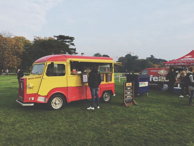 Liquid Lunch Food Truck Drink Truck Food Truck Red And Yellow Waiting Eating Grass Field Showcase: February Outdoors