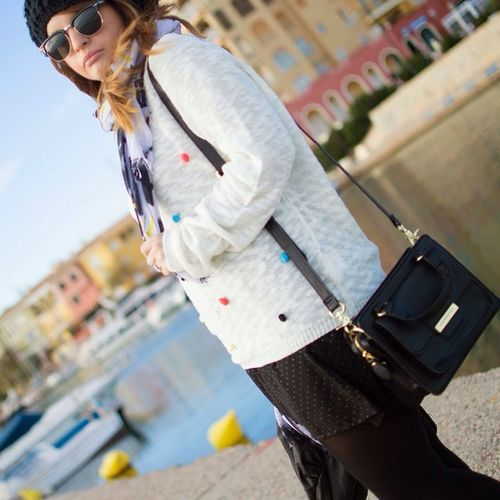 Fashion Streetstyle Fornarina Bag Skirt Springfield Polkadots Black Accessories
