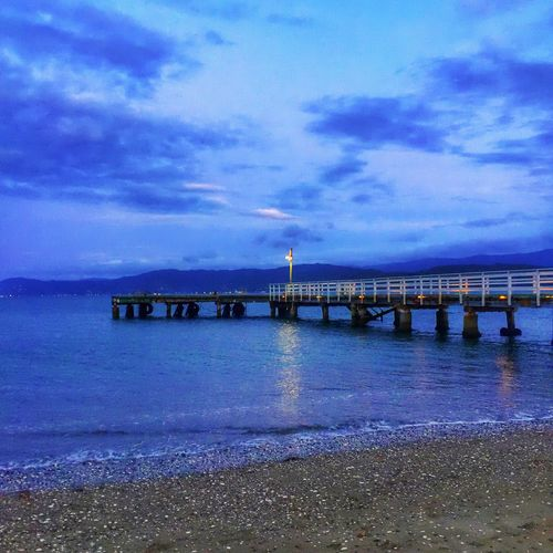 Lights on the wharf, Seatoun Wellington  New Zealand Sea Water NZ IPhoneography Water_collection New Zealand Scenery Sky