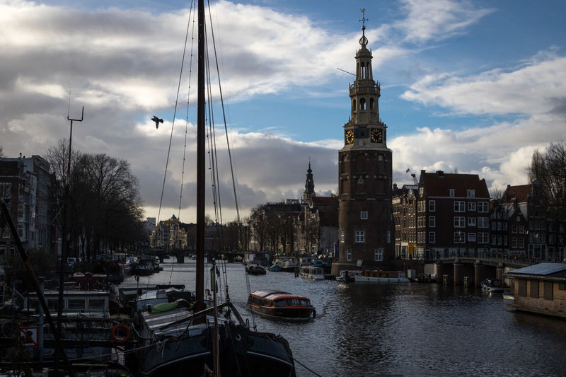 Amsterdam, The Netherlands Amsterdam The Netherlands Nederland Architecture Building Exterior Built Structure Building City Transportation Outdoors Water Nautical Vessel Cloud - Sky Sky Mode Of Transportation Tower Travel Travel Destinations No People Waterfront River Moored Sailboat Passenger Craft