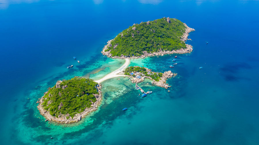 Aerial View Of Island During Sunny Day