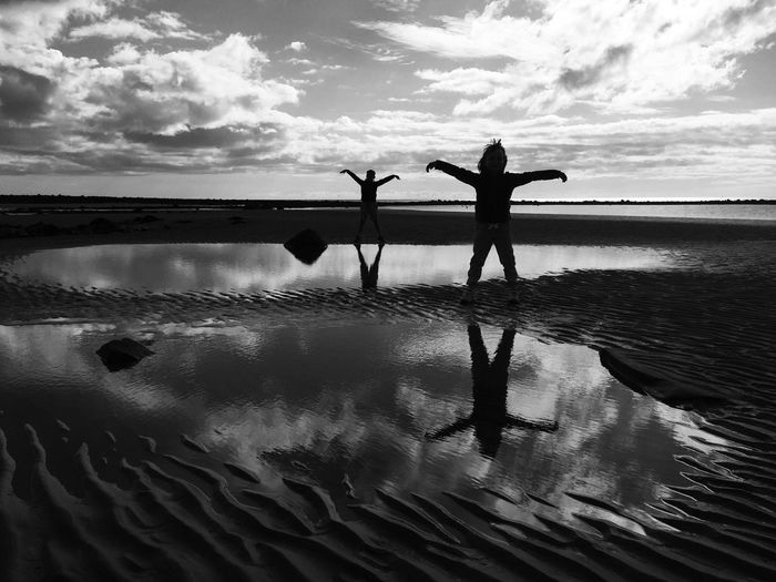 Two People Water Cloud - Sky Silhouette Nature Outdoors Beauty In Nature Blackandwhite